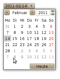 Input element with type date in Opera, showing a datepicker